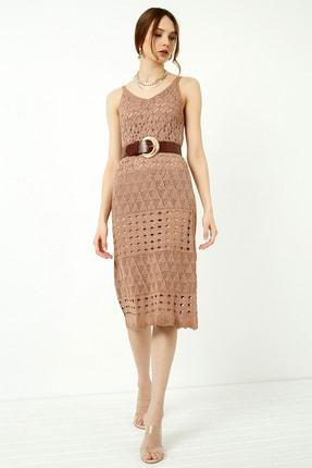 Vis a Vis Kadın Tarçın Askılı Merserize Kroşe Elbise 2