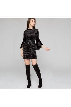Kadın Kadife Yuvarlak Siyah Elbise KADİFE ELBİSE SİYAH