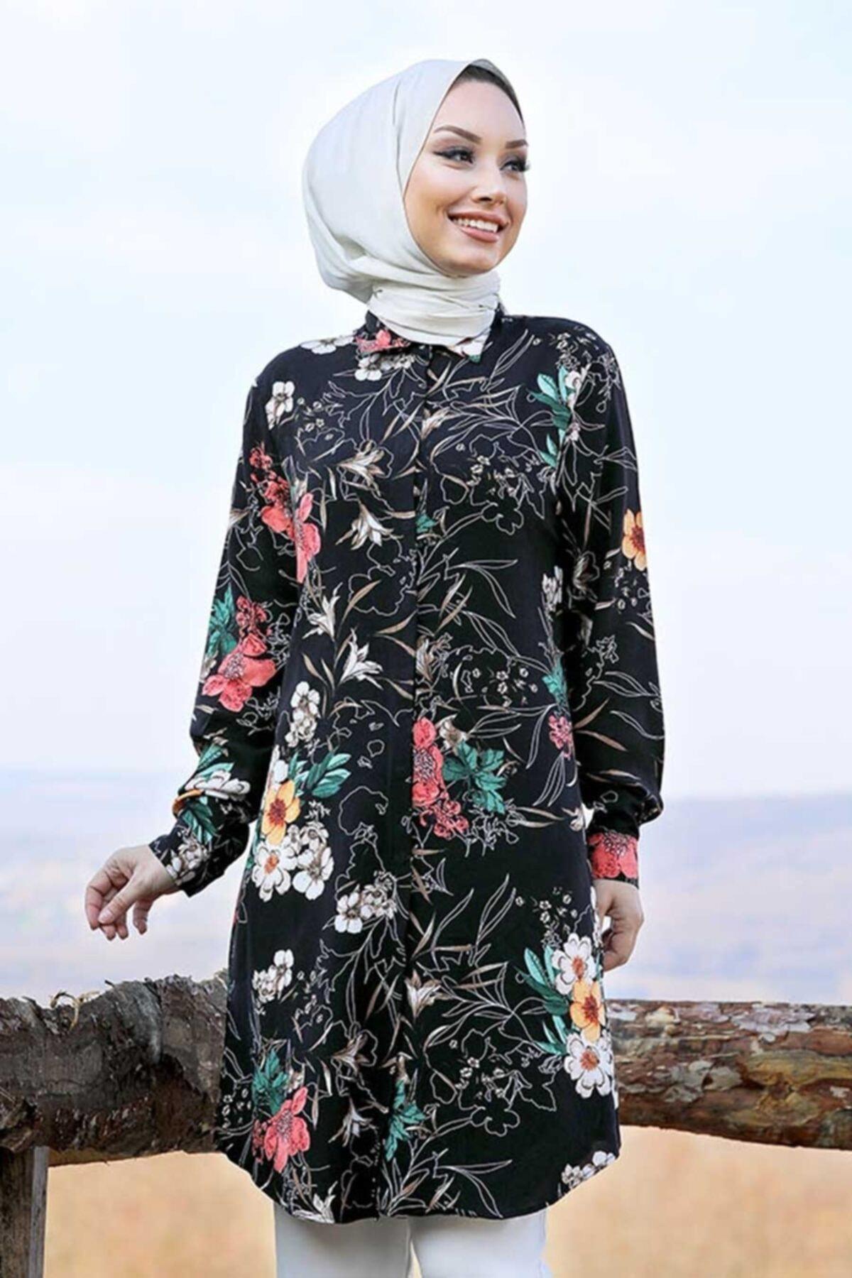 Neva Style - Çiçek Desenli Siyah Tesettür Tunik 11525seski
