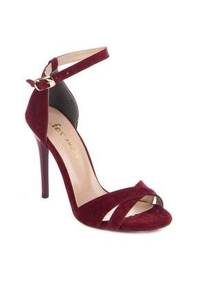 Fox Shoes Kadın Bordo Süet Topuklu Ayakkabı 7749113702 1