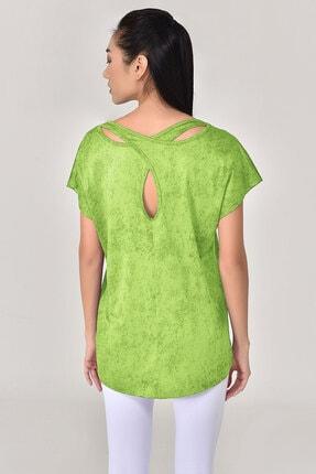 bilcee Kadın Yeşil Geniş Yaka T-shirt 8075 1