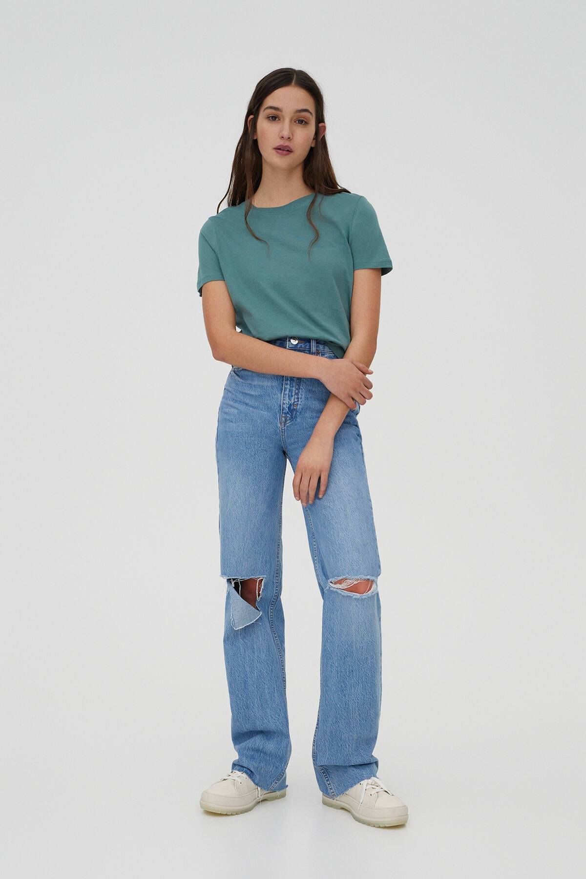 Pull & Bear Kadın Yeşil Basic Bisiklet Yaka T-Shirt 05244357 1