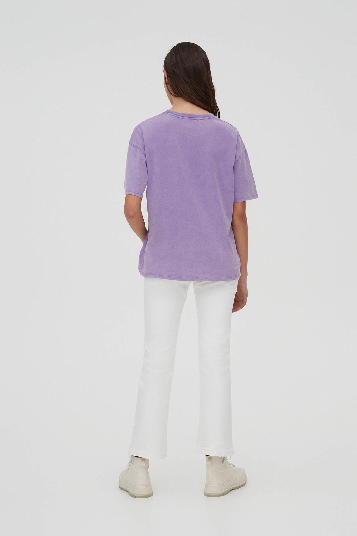 Pull & Bear Kadın Mor Lisa Simpson Görselli T-Shirt 04240372 2