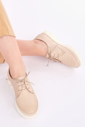 Marjin Kadın Bej Hakiki Deri Comfort Ayakkabı Porvez 0