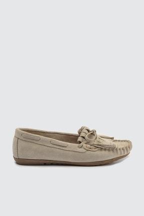 TRENDYOLMİLLA Bej Hakiki Deri Püsküllü Kadın Loafer Ayakkabı TAKSS21LA0001 1
