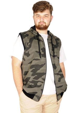 Battal Beden Erkek Camouflage Yelek 21250 Haki resmi