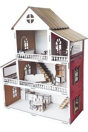 WoodyLife Kırmızı Ev Çocuk Evcilik Oyuncak Montessori  Ev 0