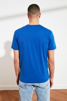 TRENDYOL MAN Saks Erkek Slim Fit Bisiklet Yaka T-Shirt TMNSS21TS0443 4