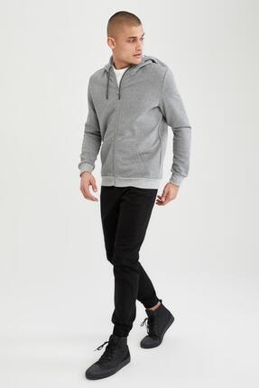 Defacto Slim Fit Kapüşonlu Fermuarlı Sweatshirt 1
