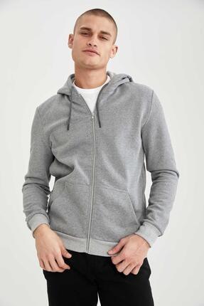 Defacto Slim Fit Kapüşonlu Fermuarlı Sweatshirt 2