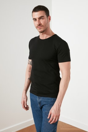 TRENDYOL MAN Çok Renkli Erkek 2'li Basic Paket Slim Fit T-Shirt TMNSS19BO0075 2