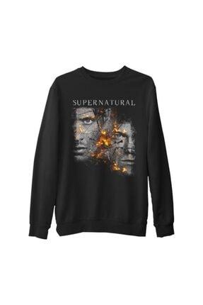 Lord T-Shirt Erkek Siyah Supernatural - Winchester Kalın Sweatshirt 0