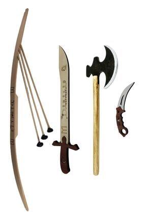 Ahtek Süper 4'lü Set, Ahşap Ok Yay  Balta Karambit Kılıç Seti 0