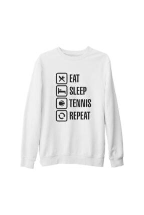 Lord T-Shirt Unisex Beyaz Tenis Eat Sleep Tennis Kalın Sweatshirt 0