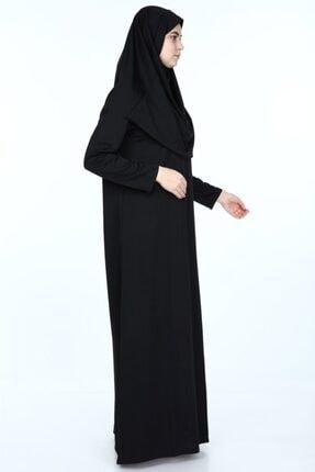erva collection Kadın Siyah Başörtülü Pratik Namaz Elbisesi (Hediyeli) 3