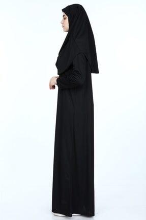 erva collection Kadın Siyah Başörtülü Pratik Namaz Elbisesi (Hediyeli) 4
