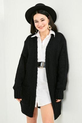 Picture of Kadın Siyah Cepli Salaş Hırka  STN220KHI331