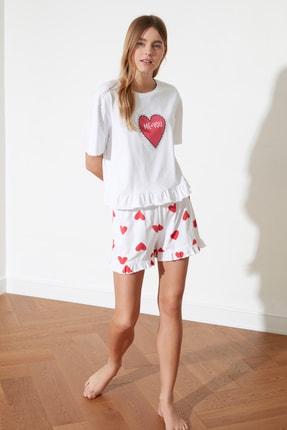 TRENDYOLMİLLA Kalp Baskılı Örme Pijama Takımı THMSS21PT0467 2