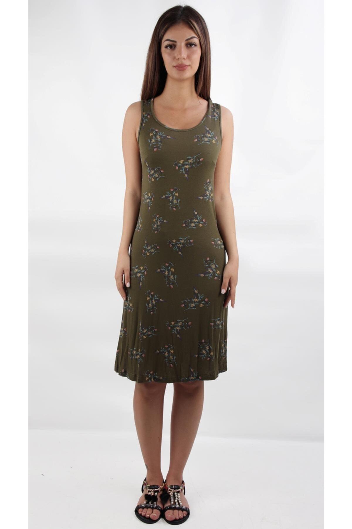 Kalın Askılı Çiçeklı Mıdı Boy Günlük Elbise, Haki (b19-49931)