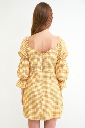 TRENDYOLMİLLA Sarı Kareli Kol Detaylı Elbise TWOSS21EL0602 4
