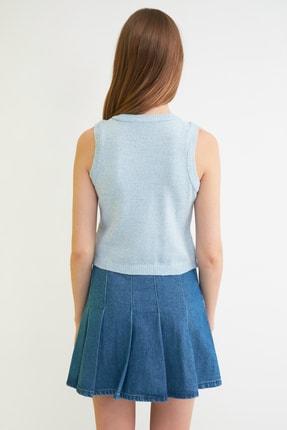 TRENDYOLMİLLA Açık Mavi Jakarlı Triko Bluz TWOSS21BZ0387 3