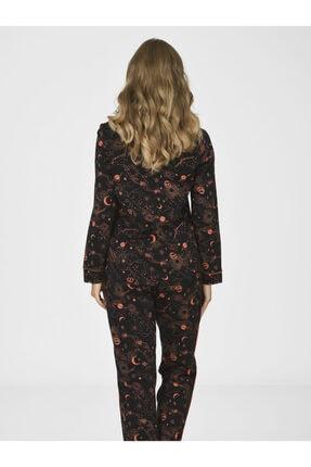 Nbb Kadın Siyah Galaksi Önden Düğmeli Pijama Takımı 67006 1