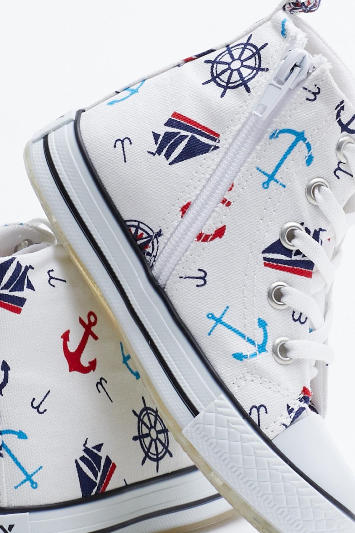 Tonny Black Beyaz Lacivert Çocuk Spor Ayakkabı Uzun Tb999 1