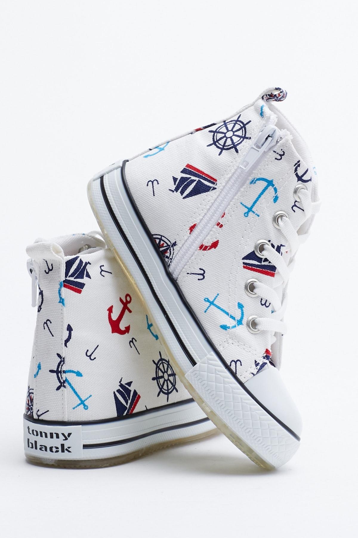 Tonny Black Beyaz Lacivert Çocuk Spor Ayakkabı Uzun Tb999 2
