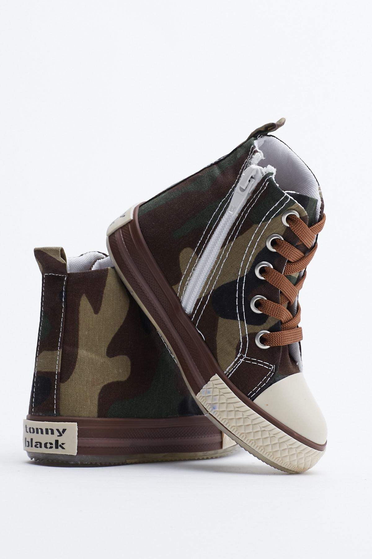 Tonny Black Haki Kamuflaj Çocuk Spor Ayakkabı Uzun Tb999 3