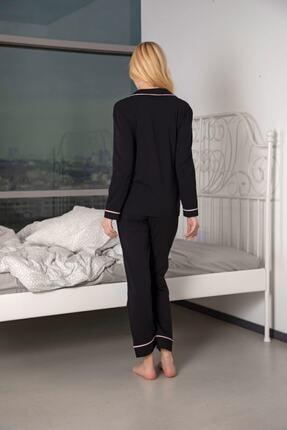 Huq Moda Kadın Siyah Pamuklu Likralı Biyeli Pijama Takımı 2