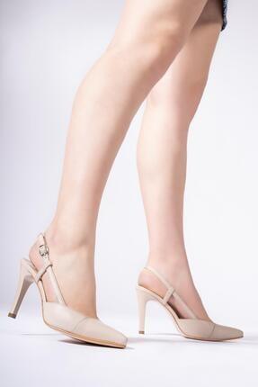 CZ London Hakiki Deri Kadın Kemerli Stiletto Arkası Açık Topuklu Ayakkabı 2