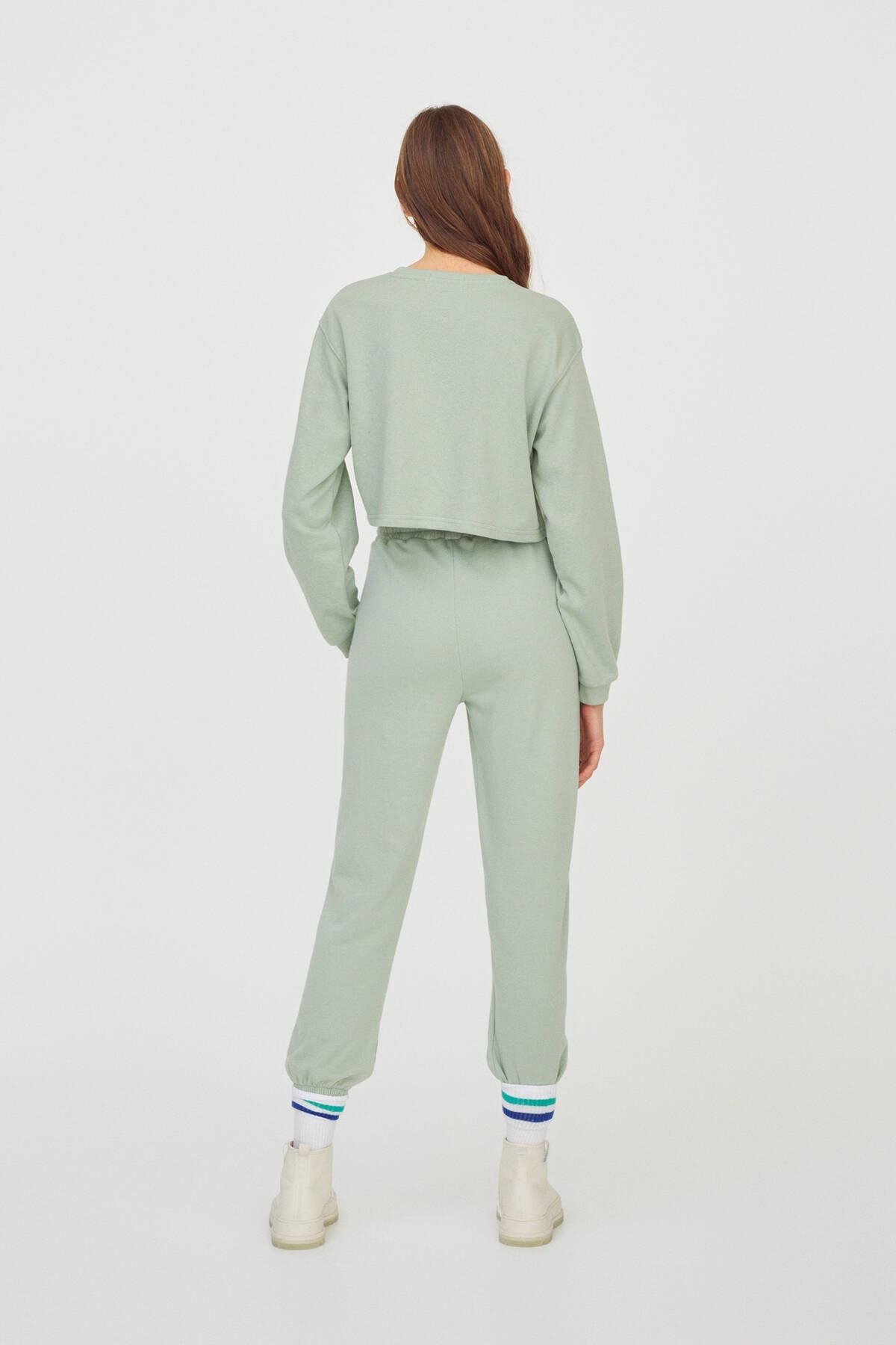 Pull & Bear Kadın  Açık Yeşil Kontrast Yazılı Sweatshirt 04591442 2