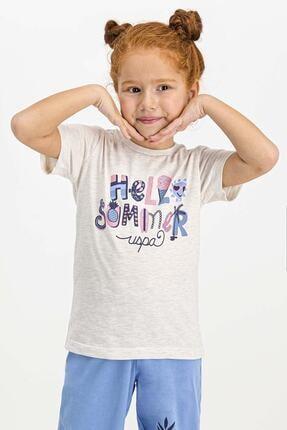 US Polo Assn Lisanslı Kremmelanj Kız Çocuk Kapri Takım 1
