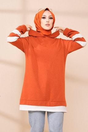 TOFİSA Kadın Kiremit Garnili Kapüşonlu Sweatshirt  7884304 3