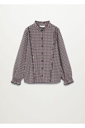 Mango Kız Çocuk Pembe Ekoseli Fırfırlı Gömlek 0