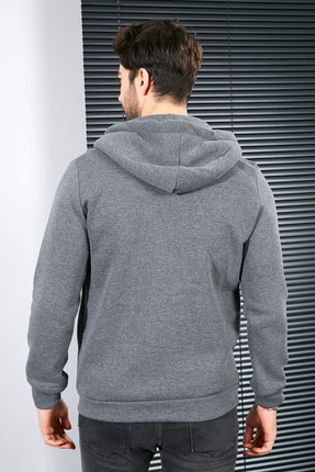 Sateen Men Erkek Antrasit Kanguru Cep Fermuarlı Sweatshirt 2