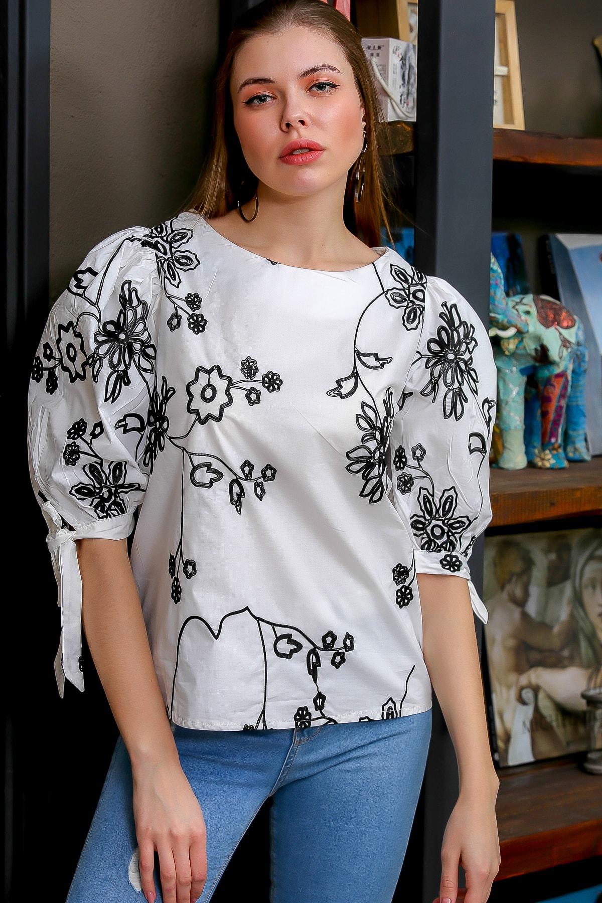 Chiccy Kadın Beyaz Bağlama Kol Detaylı Çiçek Nakışlı Sıfır Yaka Dokuma Bluz M10010200BL95616 2