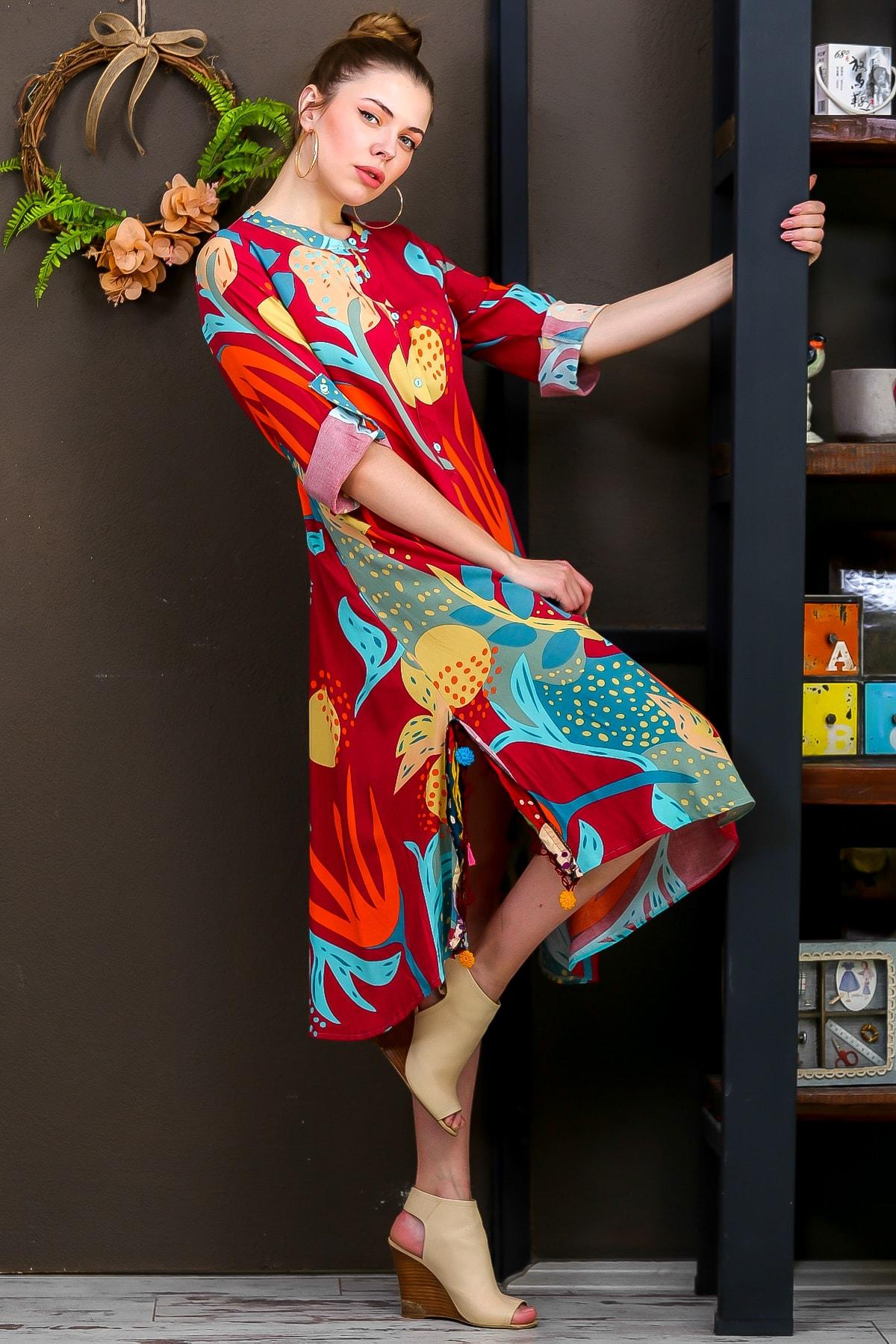 Chiccy Kadın Kiremit  Tropikal Desen Patlı Salaş Yanı Püskül Detay Yırtmaç Dokumaelbise M10160000EL95653 2
