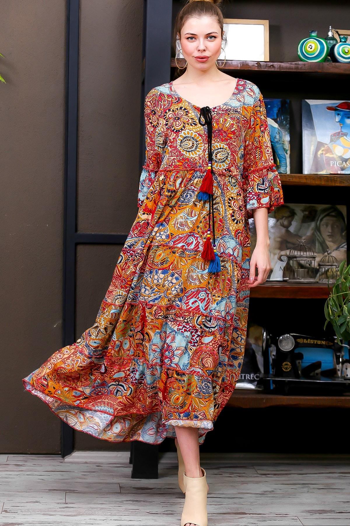 Chiccy Kadın Kiremit  Ottoman Desenli Püskül Bağcıklı Kat Kat Salaş Uzun Elbise M10160000EL95626 3
