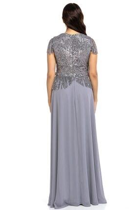Abiye Sarayı Kadın Gri Büyük Beden Üstü Payet Altı Şifon Püskül Detaylı Abiye Elbise 4