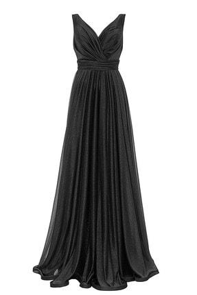 Abiye Sarayı Siyah Bel Detaylı Sırtı V Büyük Beden Uzun Abiye Elbise 0