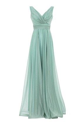 Abiye Sarayı Mint Bel Detaylı Sırtı V Büyük Beden Uzun Abiye Elbise 0