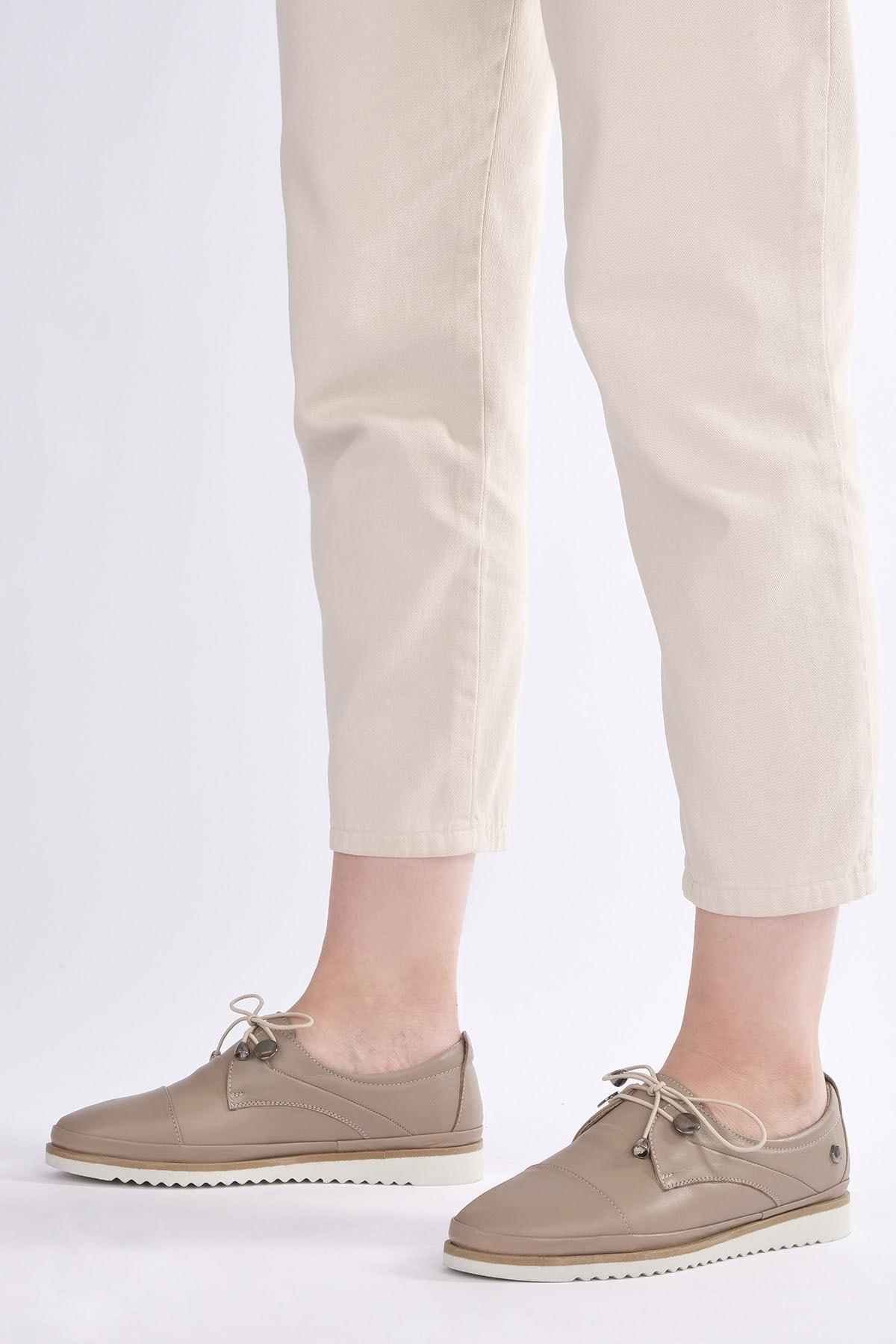Marjin Demas Kadın Hakiki Deri Comfort AyakkabıVizon 0