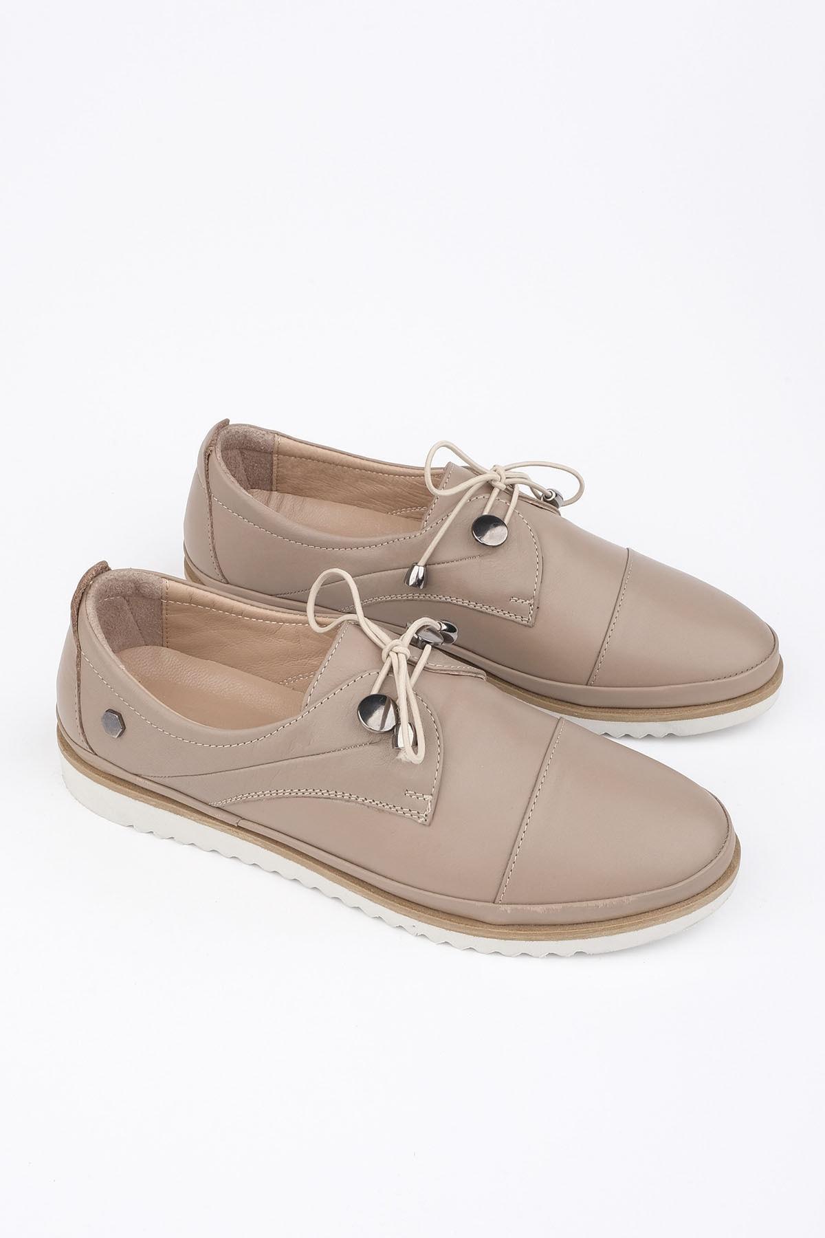 Marjin Demas Kadın Hakiki Deri Comfort AyakkabıVizon 1