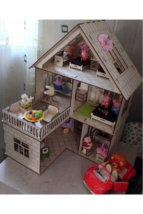 tsddekorasyon Tsd Dekorasyon 3 Katlı L Barbie Evi Eşyalı Merdivenli 0