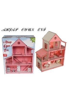 Okutan Hobi Pembe Barbie Ev Eşyalı Ahşap Oyun Evi 3