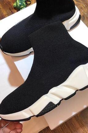 NOVELYA Erkek Taban Beyaz Çoraplı Yüksek Taban Sneaker Ayakkabı 2