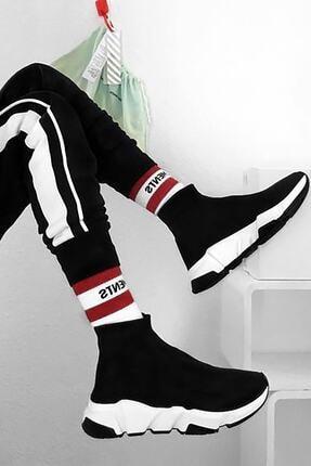 NOVELYA Erkek Taban Beyaz Çoraplı Yüksek Taban Sneaker Ayakkabı 3