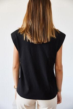 XHAN Kadın Siyah Vatkalı Basic T-shirt 0YXK2-43401-02 2