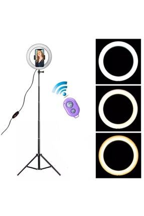 Sentor 10 Inch Ring Light Led Işık Halka Işık Youtuber,kuaför+ 2 Mt Tripod Işık Ayağı+bluetooth Kumandalı 1